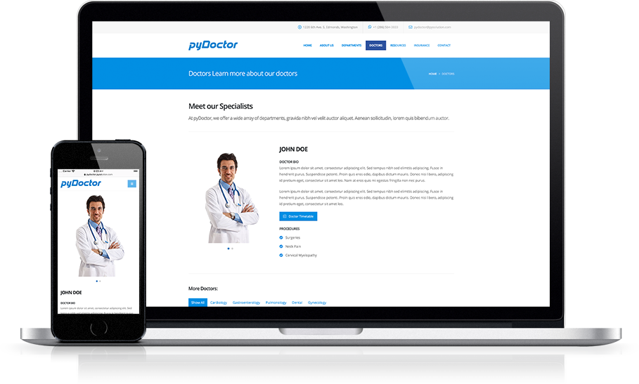 Mockup pyDoctor Medical Website Doctor Detail