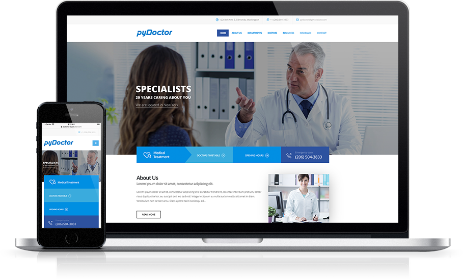 Mockup pyDoctor Medical Website Home Page