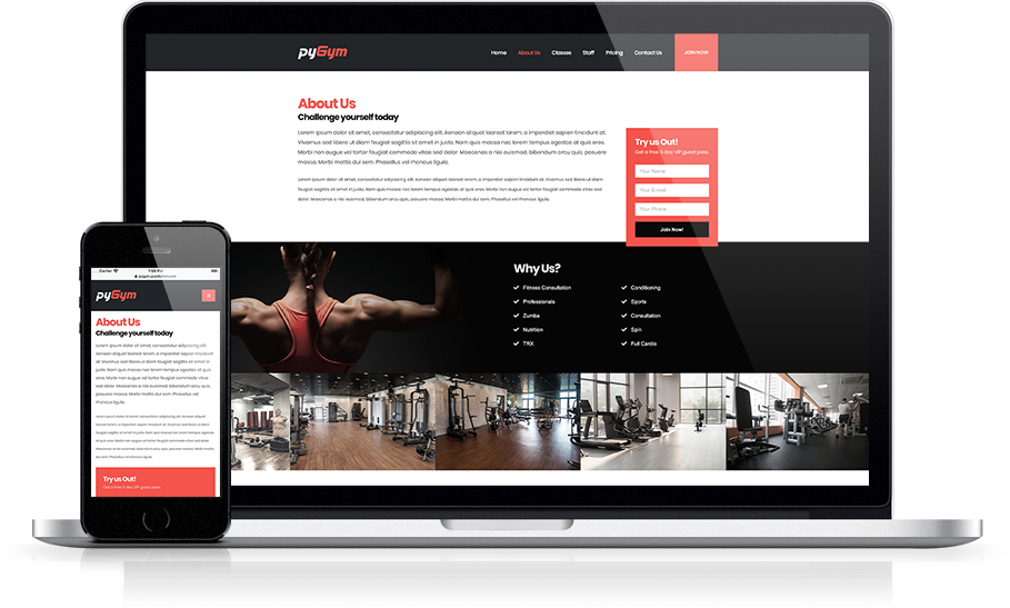 Mockup pyGym Fitness Website About Us