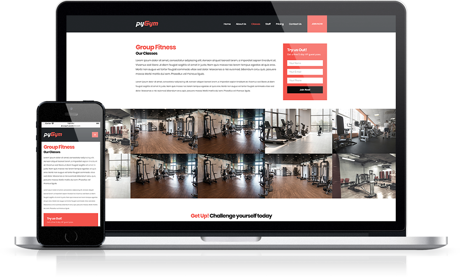 Mockup pyGym Fitness Website Class Detail