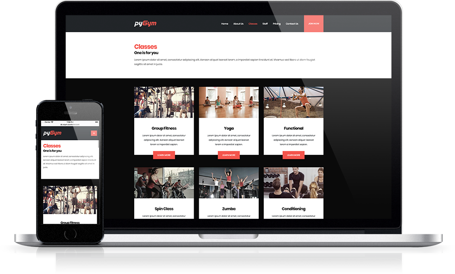 Mockup pyGym Fitness Website Classes List