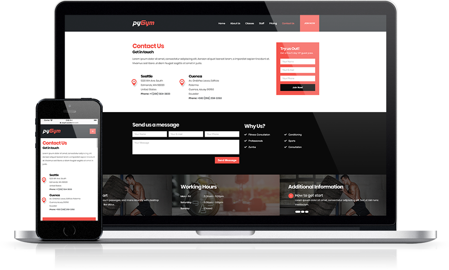 Mockup pyGym Fitness Website Contact Us