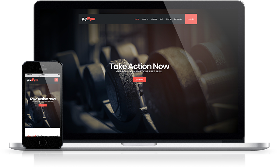 Mockup pyGym Fitness Website Home Page