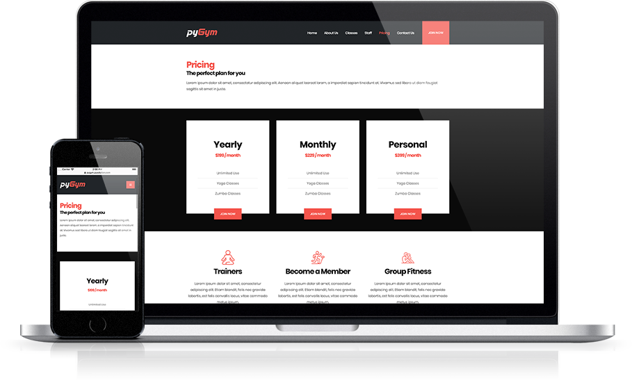 Mockup pyGym Fitness Website Pricing