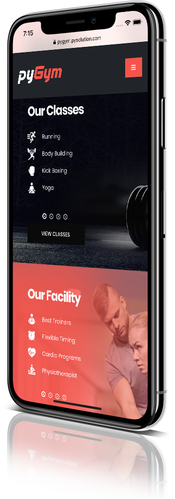 iPhone X Mockup pyGym Fitness Website Classes