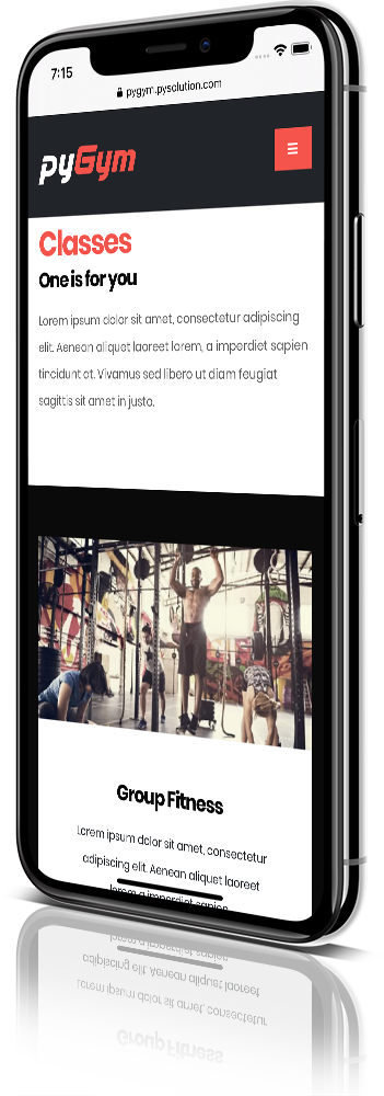 iPhone X Mockup pyGym Fitness Website Class Details