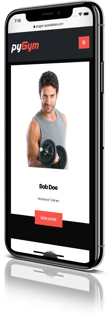 iPhone X Mockup pyGym Fitness Website Staff Fitness Trainers