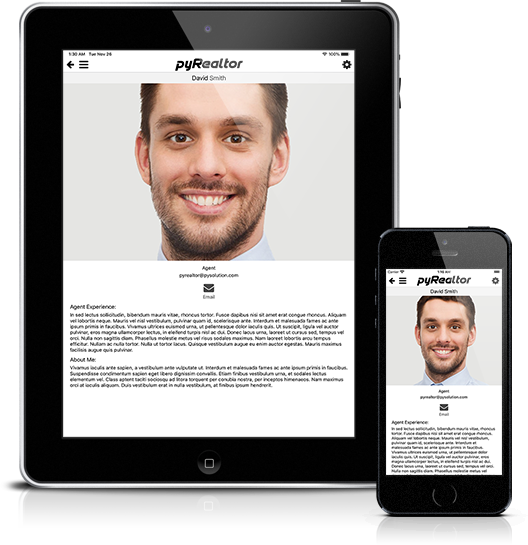 Mockup pyRealtor Mobile Application Agent Detail