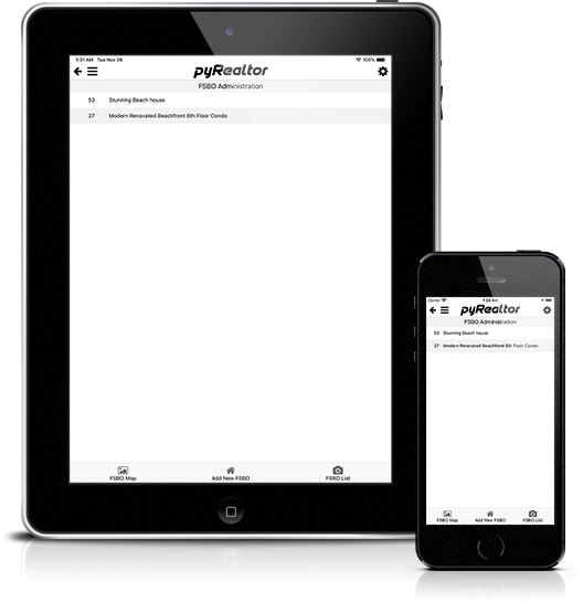 Mockup pyRealtor Mobile Application FSBO Admin