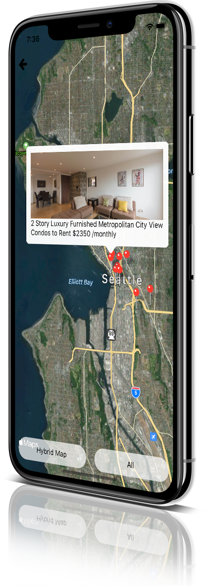 iPhone X Mockup pyRealtor Mobile Application Property Map View