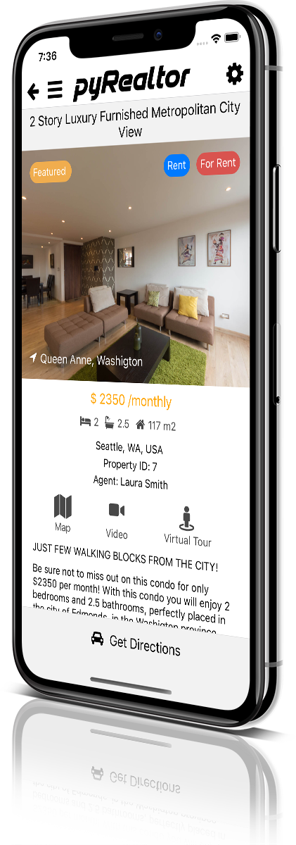 iPhone X Mockup pyRealtor Mobile Application Property Detail
