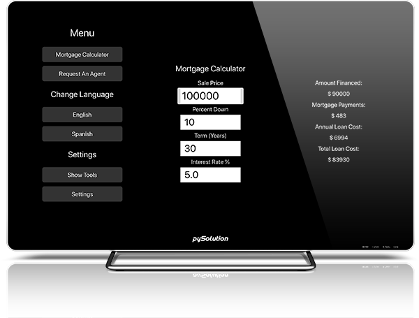 Mockup pyRealtor TV Mortgage Calculator